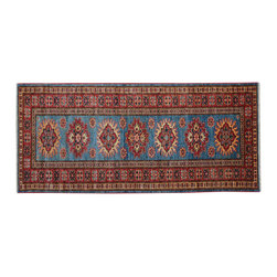 1800 Get A Rug - Sky Blue Super Kazak Hand Knotted Runner 100% Wool Oriental Rug Sh15289 - Our Tribal & Geometric Collection consists of classic rugs woven with geometric patterns based on traditional tribal motifs. You will find Kazak rugs and flat-woven Kilims with centuries-old classic Turkish, Persian, Caucasian and Armenian patterns. The collection also includes the antique, finely-woven Serapi Heriz, the Mamluk Afghan, and the traditional village Persian rug.