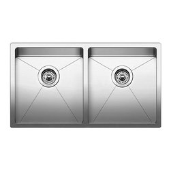 Blanco - BLANCO QUATRUS R15 Stainless Steel Undermount Equal Double Bowl Sink - BLANCO 519549 QUATRUS R15 Stainless Steel Undermount Equal Double Bowl sink