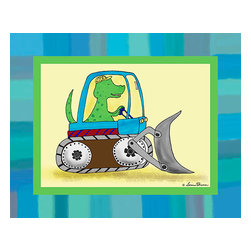 Oh How Cute Kids by Serena Bowman - Dino Construction - TRex, Ready To Hang Canvas Kid's Wall Decor, 8 X 10 - I love trucks and I love dinosaurs.  This series had to happen.  So do little boys!  Your little guys will love this in a playroom or bedroom!