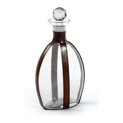 Go Home - Quogue Decanter With Leather Strapping - Quogue Decanter is perfect as gift idea or is a great addition to any home bar, sitting room, or kitchen.Features a clear glass body, finished with an equestrian brown leather strapping , spherical cut glass stopper fits perfectly into the body, to let your wine breathe or to keep other liquors fresh and ready.