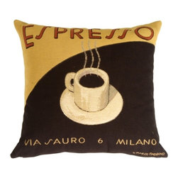 Pillow Decor - Pillow Decor - Marco Fabiano Collection Espresso Coffee Pillow - From the famous Cafe Italiano collection by Marco Fabiano, come three bold and bright pillows: Latte, Espresso and Mocha. Made from Flemish tapestry imported from Belgium, these pillows will add color and warmth to any space. Well proportioned and richly detailed, they make an ideal gift for the coffee lover.