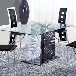 """Global Furniture - Dining Table in Black/White - Glass table top sits on top of a black and white base with grooved detailing creating just the right amount of character to enhance your dining space.; Materials: Tempered Glass/MDF Legs; Color: Clear Glass/Black Glass/Black&White Legs; Weight: 156 lbs; Dimensions: 63""""L x 35""""W x 30""""H"""