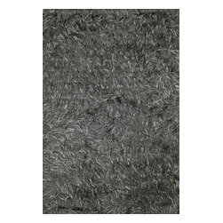 """Loloi Rugs - Loloi Rugs Royal Shag Collection - Graphite, 3'-6"""" x 5'-6"""" - The Royal Shag lives up to its name with beautifully subtle variances in color. This sophisticated yet playful collection out of India features lush, hand-crafted strands of polyester."""
