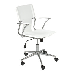 Terry Office Chair-Wht/Chrm - Want to revitalize your work space? Start with this sleek office chair. The lighter, leaner design and ergonomically positioned arms bring style and comfort to you while you bask in your home office.