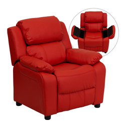 Flash Furniture - Deluxe Heavily Padded Contemporary Red Vinyl Kids Recliner with Storage Arms - Kids will now be able to enjoy the comfort that adults experience with a comfortable recliner that was made just for them! This chair features a strong wood frame with soft foam and then enveloped in durable vinyl upholstery for your active child. Choose from an array of colors that will best suit your child's personality or bedroom. This petite sized recliner features storage arms so kids can store items away and retrieve at their convenience.