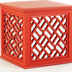 Asian Trunk Table - This is the perfect trunk to hide all your little extras in before a party. The tabletop is large enough for a lamp and coasters, and its mirrored sides add interest and depth. It is also offered in nine amazing colors.