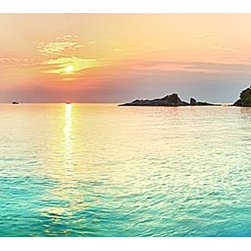 Magic Murals - Island Sunrise Panorama Wall Mural -- Self-Adhesive Wallpaper by MagicMurals - Beautiful wide-lens panoramic of the sun rising over the blue waters of small islands and large rocks jutting up from the Caribbean Sea.  Blues and purples dominate with the exception of the golden sun centered in the image.