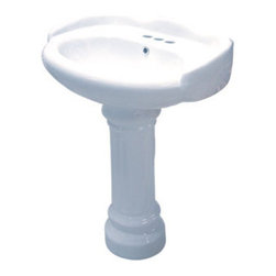 Kingston Brass - White China Wall Mount Pedestal Bathroom Sink with 4in. Center - The Georgian pedestal basin features a unique leg support designed with fine vertical imprints around its surface and the round-edges of the body structure, built to impress with an elegant demeanor insuring quality design and functionality.