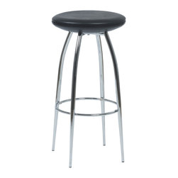 Eurostyle - Bernie-B Bar Stool (Set Of 2)-Blk/Chr - For a stool so sturdy, the Bernie-B conveys a surprising  air of lightness and delicacy.  A commercial grade build, the beautifully tapered chromed steel legs add a certain dollop of extra style to the occupant.PVC fabric over foam seat