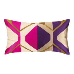 """Trina Turk - Trina Turk La Playa Fuchsia/Purple Embroidered Pillow - Angular lines and rich linen form the Trina Turk La Playa throw pillow. This luxe accessory's visually stunning embroidery and vibrant colors entice in mod interiors. 26""""W x 14""""H; 100% linen; Magenta, purple, gold, natural and blue; Includes feather down insert; Hidden zipper closure; Dry clean only"""