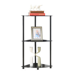 Convenience Concepts - Convenience Concepts Shelve X-B600751 - Designs2Go&trade: Classic Glass 3 Tier Corner shelf is the perfect complement to any living room d&#233:cor. Featuring an open modern design that provides 3 spacious glass shelves for decoration, collections or art objects. Surely will provide years of enjoyment