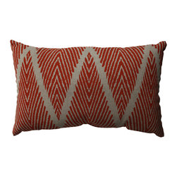 Pillow Perfect - Pillow Perfect Bali Mandarin Rectangular Throw Pillow - This rectangular pillow adds a pop of color to your room with its intricate burgundy and gray design. Featuring a 100 percent cotton cover with virgin polyester filling,this throw pillow is a great choice for waking up the decor in your living room.