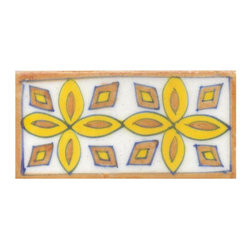 "Knobco - Tiles 2x4"", Brown and Yellow design - Brown and Yellow design Tiles from Jaipur, India. Unique, hand painted tiles for your kitchen or other tiling project. Tile is 2x4"" in size."