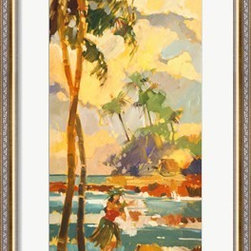 Aloha Dancer Watercolor Print Framed in Silver over Gold Frame - Framed Print of Watercolor Aloha Dancer by Darrell Hill