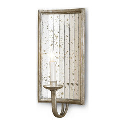 Kathy Kuo Home - Twilight Rectangle Antique Mirror Wall Sconce - A great vintage style mirrored sconce. Perfect for deco and Hollywood Regency rooms. Individual antique mirror strips are hand applied within a wrought iron rectangle frame.  The frame is finished in an antique Harlow silver leaf.