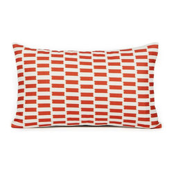 """LaCozi - """"Lance"""" Cream and Burnt Orange Pillow - A cool color combo, an eye-popping print — now that's the way to enliven your favorite casual setting. This statement-making pillow is quality crafted with double-stitched seams and reinforced stress points to really go the distance in your decor."""