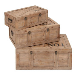"""Benzara - Beautifully Designed Wood Trunk with Double Locks - Set of 3 - Keep your bedroom clutter free with these wooden trunks. It is well spaced and can accommodate all your bedding essentials. These wood trunks will evoke a feeling of warmth in your abode. It acts as a storage chest and keeps your bedroom airy and tidy. Moreover, these wooden trunks add a traditional and classy touch to your personal space. Equipped with double locking system, these wooden trunks ensure lasting luster. These lacquered wooden trunks are crafted with precision. They look smart and help you to keep your bedroom spick and span. These classy trunks exude a vintage feel to your personal space. These wooden trunks also act as a perfect gifting item. Made out of premium wood, these three trunks double up as classy furniture pieces and last for a long time.; Made out of wood; Has double locks; Well built; Highly durable; Has vintage looks; Weight: 37.4 lbs; Dimensions:32""""W x 20""""D x 13""""H; 28""""W x 16""""D x 11""""H; 24""""W x 13""""D x 8""""H"""