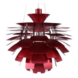 """East End Imports - Petal 24"""" Chandelier in Red - Elevate the heart and uplift the mind in a liberated release of light. The Petal Lamp is a study in perception stemming from the inner recesses of the soul. Reflect limitless possibilities and shower abundance as you diffuse light pleasantly with a striking classic for all times and settings."""