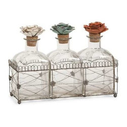 Harvey Glass Bottles and Tray - While these glass bottles in a wire tray emit beauty, the fantastic metal rose finials help to create this elegant set of decorative bottles.