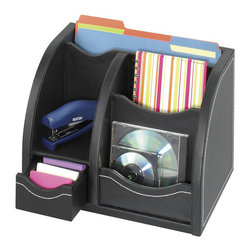 Safco - Safco Leather Look Multi-Organizer in Black - Safco - Desktop Organizers - 9437BL - The two horizontal compartments fit letter-sized documents. The bottom drawer can be removed and used as a desktop tray for organizing your accessories. Durable PVC laminate with stitched accents has the look and feel of leather and withstands heavy use without wear.