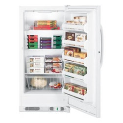 GE - FUM14SVRWW 14.1 cu. ft. Upright Freezer With 3 Wire Shelves  Interior Light  Def - GE Consumer and Industrial spans the globe as an industry leader in major appliance lighting and integrated industrial equipment systems and services They provide solutions for commercial industrial and residential use in more than 100 countries whic...