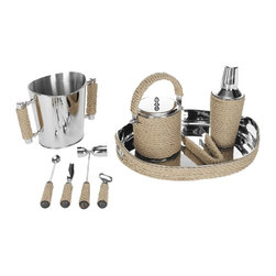 Safavieh - Brass And Rope Bartender Set ACS8500E - Improve your status as a mixologist and host with cocktails prepared and served using this exquisitely detailed Bartender Set. Crafted of genuine horn, natural bark or bamboo with stainless steel and brass, the set includes nine pieces: tray, beverage and ice buckets, a cocktail shaker with strainer, tongs, garnish knife, double jigger, stirrer and bottle opener. Cheers!