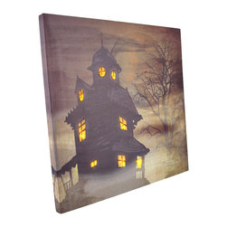 Zeckos - Flickering LED Haunted House Square Canvas Wall Hanging - At first glance, you see an image of a spooky old house with a full moon rising behind it and fog rolling in, but with the flip of a switch the house comes to life with flickering lights in every window. The canvas measures 12 inches tall, 12 inches wide, 3/4 of an inch thick and has 2 hanging slots cut into the wooden frame so it easily mounts to any wall. The flickering lights are powered by 2 AA batteries (not included), are controlled by an inconspicuous on/off switch on the side of the canvas, and unsightly wires are concealed and contained by the vinyl backing. This piece is a wonderful Halloween decor item, and is sure to be admired.