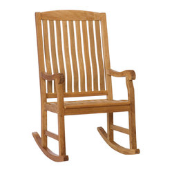 Upton Home - Baylen Teak Natural Oil Finish Porch Rocker - Relax in style with this teakwood porch rocker. This weather-resistant rocker features a comfortable back rest, a contoured seat, and arm rests for support. Its stunning natural oil finish is sure to complement your home beautifully.