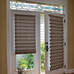 Custom French Door Shades & Blinds - Two Blind Guys St. Louis, Mo - Roman Shades are the perfect window treatment for any kind of french door. These Roman Shades come in the cordless version and have hold downs on the bottom rail to keep the blind from swinging around.