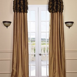 Ruched Thai Silk Curtain - Chocolate Brown Header & Brown Gold Panel - We've taken our popular Thai Silk panels and added a ruched header valance creating the most luxurious, over the top style in window treatments out there. This style was designed and meant to be stationary and used as decorative panels to frame out your window. Choose from a pre-designed collection or Create Your Own.