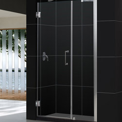 """Dreamline - UNIDOOR Frameless 48-49"""" Adjustable Shower Door Chrome - Product Type: Shower Door Glass type: Clear 3/8 (10mm) thick tempered glass Hardware finish: Chrome Self-closing solid brass wall mounted hinges.  Glass door is reversible for left-wall or right-wall installations.  Shower Door includes a 24 inches stationary glass panel with a full length aluminum wall profile, adjustable by 1 inches. Door kit includes wall support arm hardware required for stationary panel installation.  Door opening (door swing dimension): 24 inches Dimensions: UNIDOOR models come with a fixed door height of 72 inches. Self-closing solid brass wall mounted hinges (5 degree offset) Assembly is required. Materials: Tempered Glass, Aluminum Profiles, Brass Hinges"""