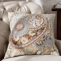 """Serena Embroidered Paisley Applicque Pillow Cover, 20"""" sq., Multicolor - More than just an accessory, this beautiful Arts & Crafts-inspired pillow is a work of art. 20"""" square Woven of pure cotton. Paisley design made with crewel work on applique. Button closure with hidden placket construction. Insert sold separately; down blend or synthetic. Machine wash. Imported."""