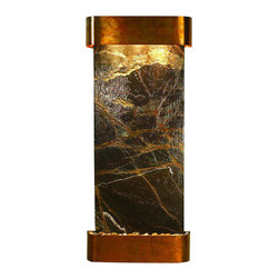 Adagio Water Features - Inspiration Falls Wall Fountain, Rustic Copper, Green Rainforest Marble, Rounded - Comes complete with polished river rock, halogen lighting, and electric pump.