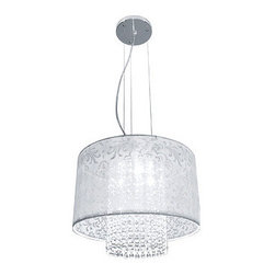 Bazz Lighting - Bazz Lighting LU3815TC Glam Series Three-Light Drum Pendant, Finished in White w - Bazz LU3815TC Glam Series Three-Light Drum Pendant, Finished in White with Glass BeadsBazz LU3815TC Features: