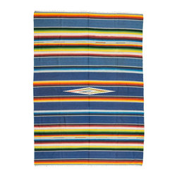 Vintage Dark Blue Serape - Traditionally worn as a blanket-like shawl, the serape is a multifunctional textile. It can work as a rug, as a throw on cold nights, as a bleach blanket in the summer, or a seat cover in your 1940 Ford.