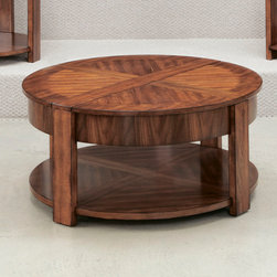 Hammary - Hammary Maxim Round Lift Lid Cocktail Table in Russet Brown Walnut - Hammary Maxim Round Lift Lid Cocktail Table in Russet Brown Walnut