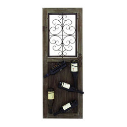 UMA - Antiquities Portal Wall Wine Rack - An antique style door fitted with a wall grille is fashioned to hold up to five bottles of wine