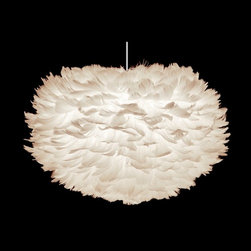 Feather Pendant Light with Oval Shade and White Hardware -