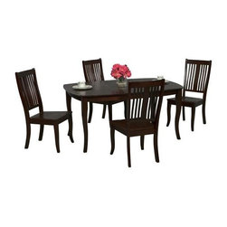 Winners Only - Santa Fe Table w 4 Chairs in Chocolate - One 16 in. butterfly leaf table. Slat back chairs. Tapered legs. Chocolate Finish. Minimum table: 48 in. L x 42 in. W x 30 in. H. Maximum table: 64 in. L x 42 in. W x 30 in. H. Chair: 19 in. W x 23 in. D x 40 in. H