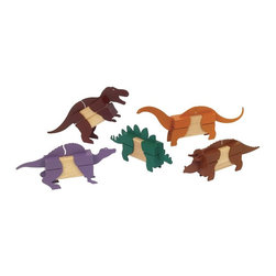 Guidecraft - Guidecraft Hardwood Block Mates Dinosaurs - Guidecraft - Wooden Play Sets - G7602 - Oppenheim Toy Portfolio Gold Award And Instructor Magazine Teacher's Best Pick Dinosaurs