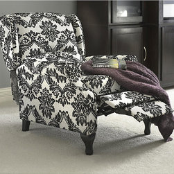 None - Black and White Wing Recliner - Put your feet up in style with a French-reminiscent black and white wing recliner that simply looks like a classily styled wing chair. The floral print upholstered and well padded seat is 100 percent polyester, and it can hold 220 pounds.