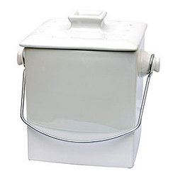 Le Chef French White Ceramic Square 1.5-gallon Compost Pail - This is such a pretty compost container that nobody will even know what's inside! It's much cuter than the other mini compost bins I've seen lately.