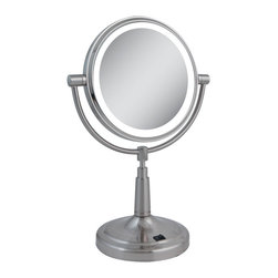 Zadro - Zadro Led Lighted 1X/5X Round Vanity Mirror In Satin Nickel-Ledv45 - The LED Lighted Vanity Mirror features a dual-sided, premium quality mirror with two magnifications.  On one side, a 5x magnification mirror allows you to see up-close and in detail, allowing for easy make-up application.  The other side features a normal, 1x magnification mirror that is great for checking hair and make-up.