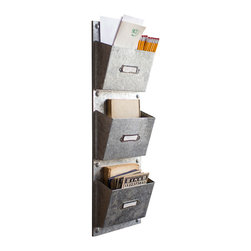 Galvanized Vertical File - Sort out your files, mail, office supplies, and anything else with these vertical wall files. The galvanized finish makes them a great addition to a modern or industrial office.