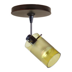 Besa Lighting - Scope Transparent Olive/Frost Bronze Spotlight with Flat Canopy - - Scope is a compact cylinder of handcrafted glass, that demonstrates contemporary sensibilities. Our Olive/Frost glass is a colored transparent borosilicate glass, with a frosting carefully applied to conceal the light source. The light green glow has an edgy display that exudes an energetic mood, while the frost glows brightly from the lamping. When lit this gives off a light that is functional and vibrant. This handcrafted glass uses a process where every glass is consistently produced using an extrusion, keeping variations to a minimum. The 12V spotlight fixture is equipped with a 1.5 long stem, swivel lamp holder, quick connect jack, and a low profile flat monopoint canopy. These stylish and functional luminaries are offered in a beautiful brushed Bronze finish.  - Bulbs included: Yes  - Wire length: 4.25in.  - Canopy/Fitter Height: 0.625-inches  - Canopy/Fitter Diameter/Width: 5-inches  - : NOTICE: Due to the artistic nature of art glass, each piece is uniquely beautiful and may all differ slightly if ordering in multiples. Some glass decors may have a different appearance when illuminated. Many of our glasses are handmade and will have variances in their decors. Color, patterning, air bubbles and vibrancy of the d�cor may also appear differently when the fixture is lit and unlit. Besa Lighting - 1SP-6524EL-BR