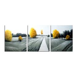 Pop of Color- Landscape Painting- 3-piece -