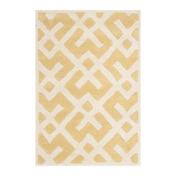 Safavieh - Nadine Hand Tufted Rug, Light Gold / Ivory 2' X 3' - Construction Method: Hand Tufted. Country of Origin: India. Care Instructions: Vacuum Regularly To Prevent Dust And Crumbs From Settling Into The Roots Of The Fibers. Avoid Direct And Continuous Exposure To Sunlight. Use Rug Protectors Under The Legs Of Heavy Furniture To Avoid Flattening Piles. Do Not Pull Loose Ends; Clip Them With Scissors To Remove. Turn Carpet Occasionally To Equalize Wear. Remove Spills Immediately. A timeless quatrefoil motif makes a global design statement in the subtle but sophisticated Desai area rug. These stunning hand-tufted wool rugs are crafted in India to recreate the elegant look of hand-knotted carpets for today's lifestyle interiors.