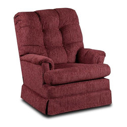 Chelsea Home - Chelsea Home Del Ray Burgundy Swivel Rocker Multicolor - 9795 - Shop for Rocking from Hayneedle.com! About Chelsea Home FurnitureProviding home elegance in upholstery products such as recliners stationary upholstery leather and accent furniture including chairs chaises and benches is the most important part of Chelsea Home Furniture's operations. Bringing high quality classic and traditional designs that remain fresh for generations to customers' homes is no burden but a love for hospitality and home beauty. The majority of Chelsea Home Furniture's products are made in the USA while all are sought after throughout the industry and will remain a staple in home furnishings.