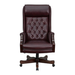 Flash Furniture - Flash Furniture Office Chairs Leather Executive Swivels X-GG-GT696C-CK - This Tufted High Back Executive Office Chair combines old world craftsmanship with 21st century ergonomic seating principles, giving you a chair that feels as good as it looks. It redefines traditional elegance with its softer edges, subtle styling, and amazing comfort. [KC-C696TG-GG]