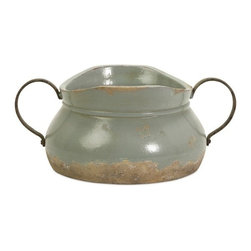 """IMAX - Calista Short Bowl W/ Metal Handle - A pale aqua rustic full bodied ceramic bowl has a natural quality like a handmade collectible piece from ancient civilizations. This piece is highly versatile and well suited for a variety of decor. Item Dimensions: (6""""h x 14""""w x 10"""")"""